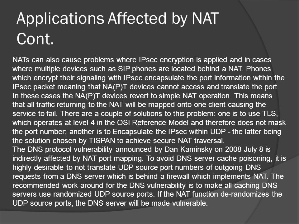 Applications Affected by NAT Cont.