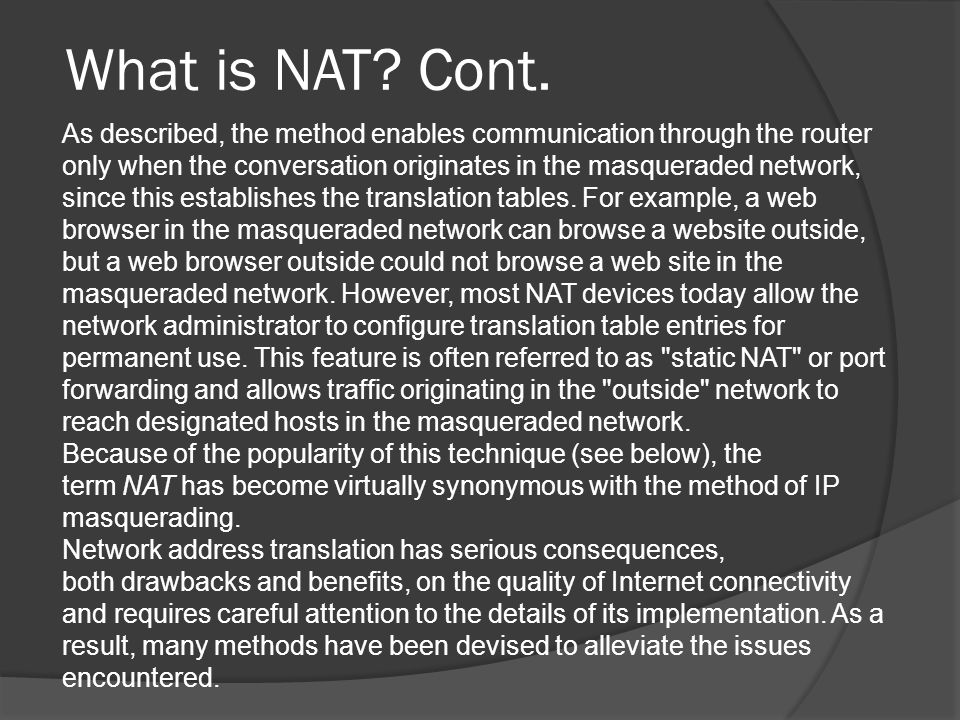 What is NAT. Cont.