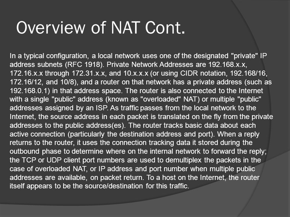 Overview of NAT Cont.