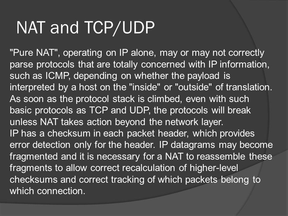 NAT and TCP/UDP Cont.