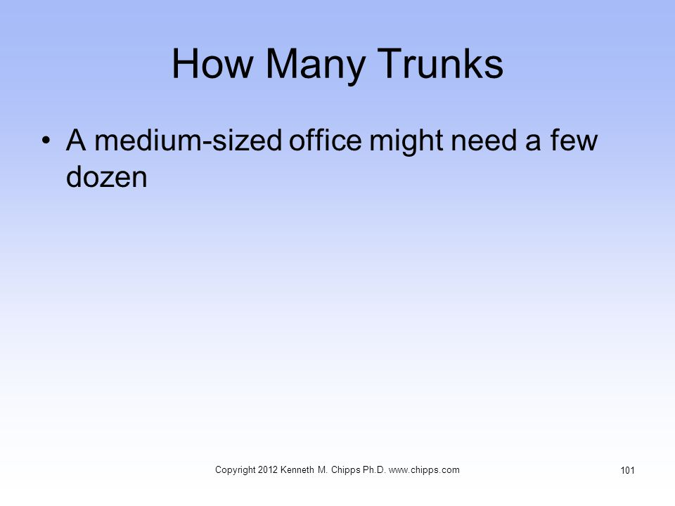 How Many Trunks A medium-sized office might need a few dozen Copyright 2012 Kenneth M.