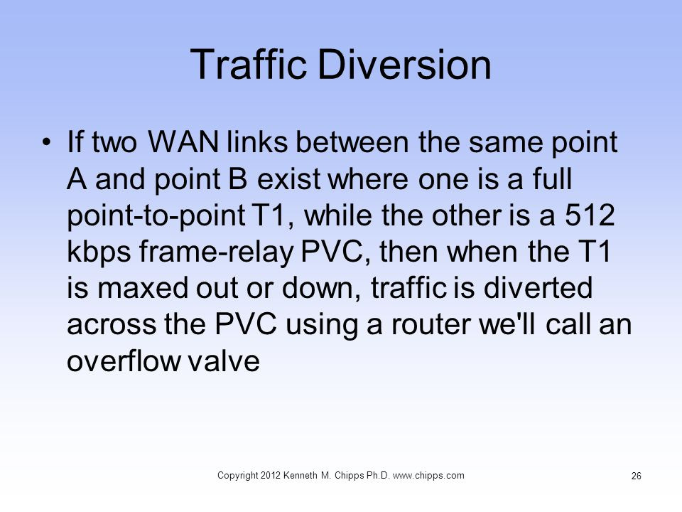 Traffic Diversion If two WAN links between the same point A and point B exist where one is a full point-to-point T1, while the other is a 512 kbps frame-relay PVC, then when the T1 is maxed out or down, traffic is diverted across the PVC using a router we ll call an overflow valve Copyright 2012 Kenneth M.