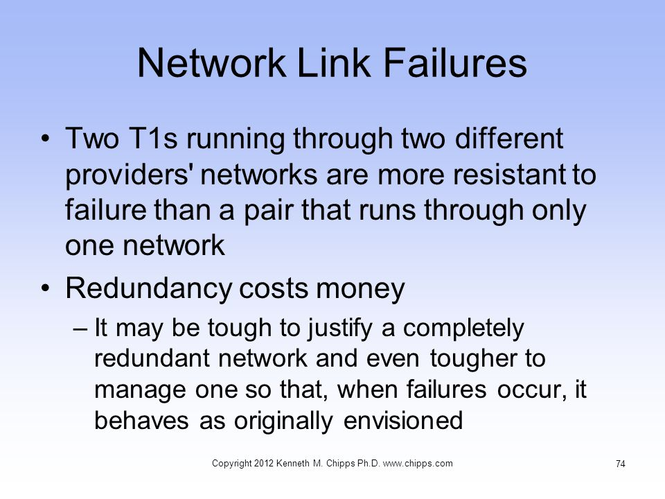 Network Link Failures Two T1s running through two different providers networks are more resistant to failure than a pair that runs through only one network Redundancy costs money –It may be tough to justify a completely redundant network and even tougher to manage one so that, when failures occur, it behaves as originally envisioned Copyright 2012 Kenneth M.
