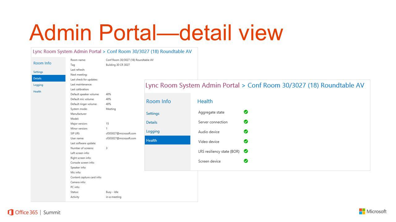 Admin Portal—detail view