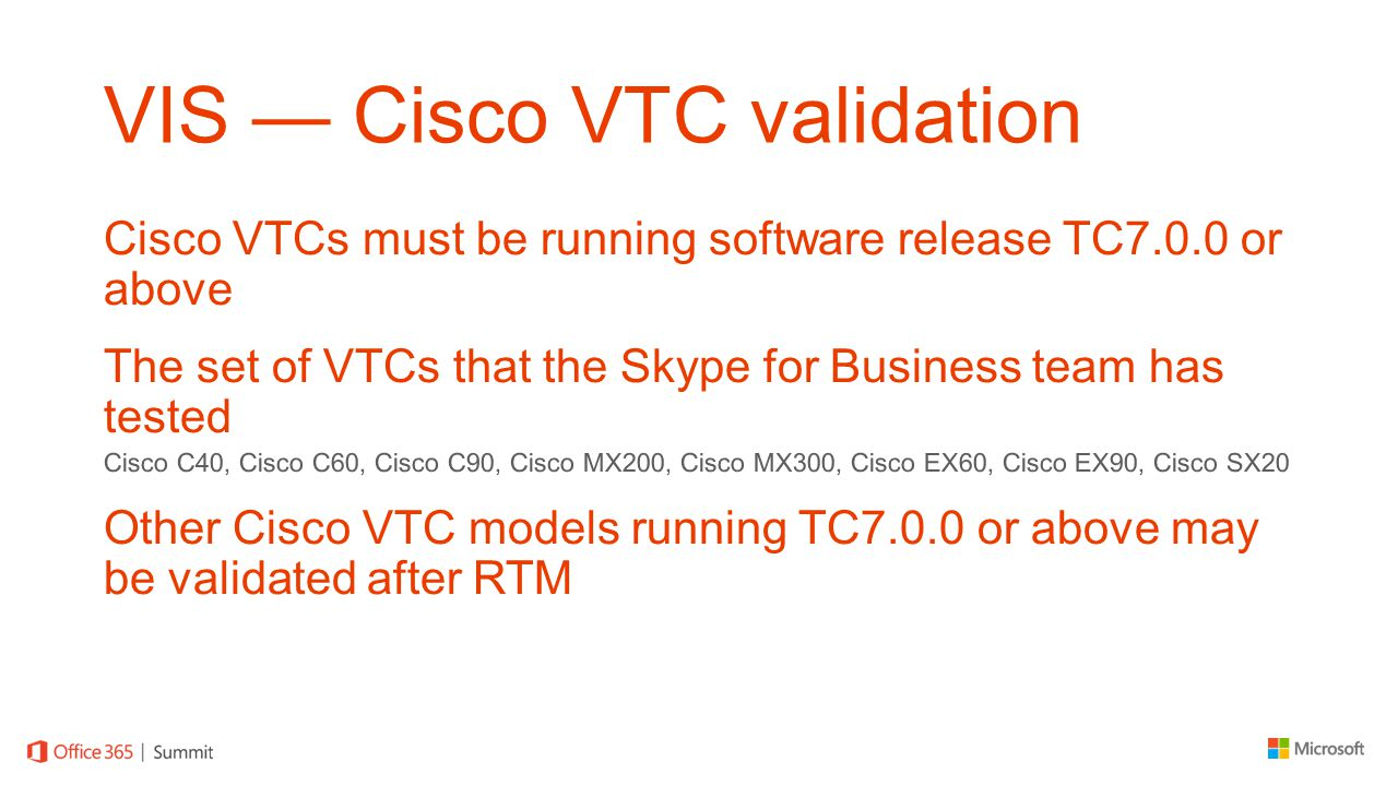 VIS — Cisco VTC validation