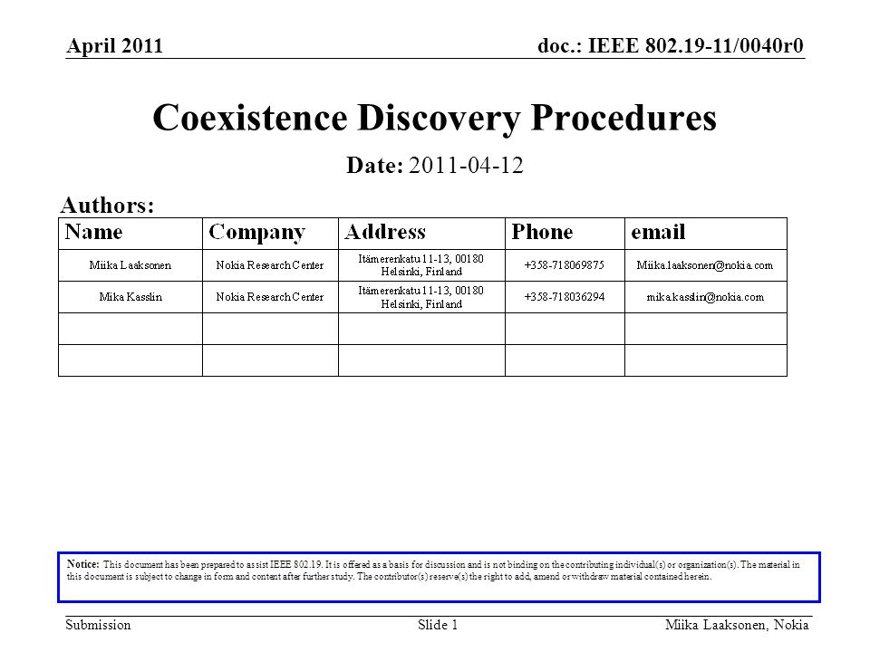doc.: IEEE 802.19-11/0040r0 Submission April 2011 Miika Laaksonen, NokiaSlide 1 Coexistence Discovery Procedures Notice: This document has been prepared to assist IEEE 802.19.