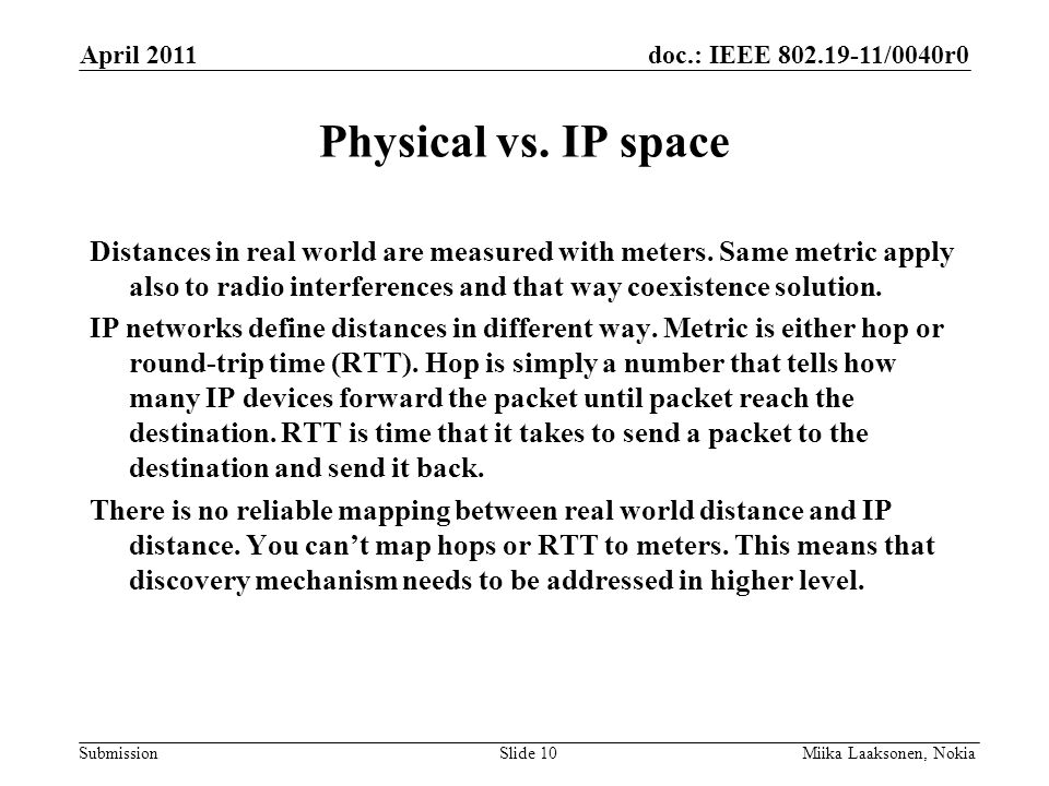 doc.: IEEE 802.19-11/0040r0 Submission Physical vs.