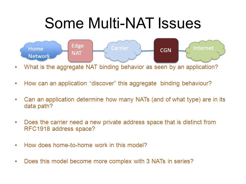 Some Multi-NAT Issues What is the aggregate NAT binding behavior as seen by an application.