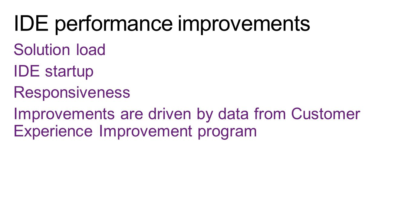 Solution load IDE startup Responsiveness Improvements are driven by data from Customer Experience Improvement program