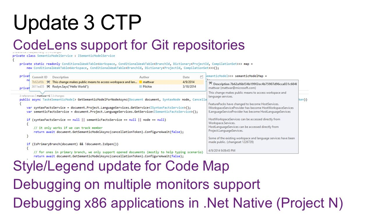 CodeLens support for Git repositories Style/Legend update for Code Map Debugging on multiple monitors support Debugging x86 applications in.Net Native (Project N)