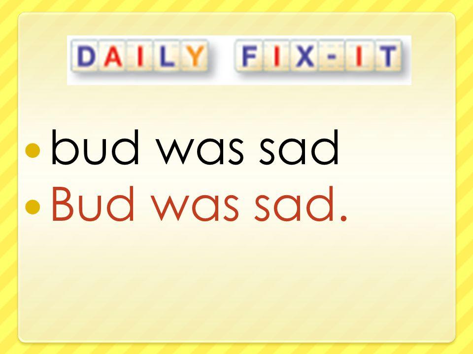 bud was sad Bud was sad.