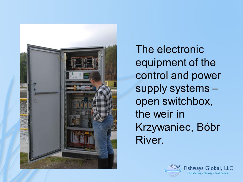 The electronic equipment of the control and power supply systems – open switchbox, the weir in Krzywaniec, Bóbr River.