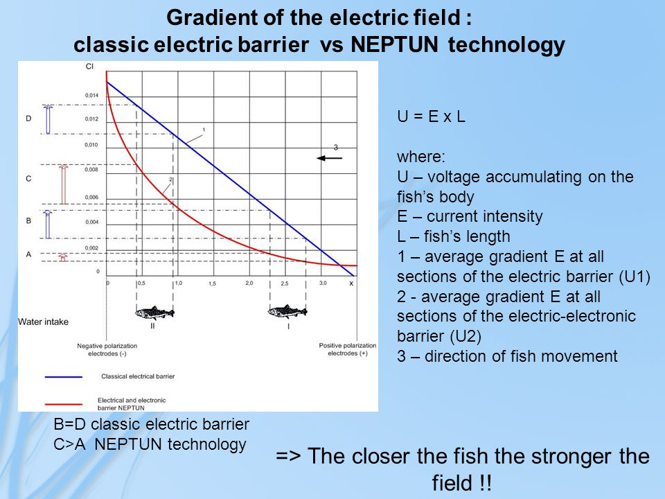 U = E x L where: U – voltage accumulating on the fish's body E – current intensity L – fish's length 1 – average gradient E at all sections of the electric barrier (U1) 2 - average gradient E at all sections of the electric-electronic barrier (U2) 3 – direction of fish movement B=D classic electric barrier C>A NEPTUN technology Gradient of the electric field : classic electric barrier vs NEPTUN technology => The closer the fish the stronger the field !!