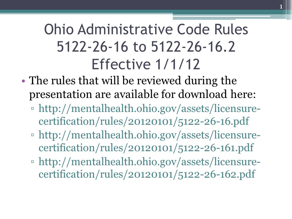 Ohio Administrative Code Rules 5122-26-16 to 5122-26-16.2 Effective 1/1/12 The rules that will be reviewed during the presentation are available for d