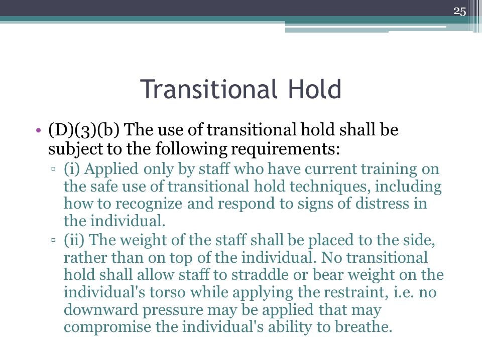 Transitional Hold (D)(3)(b) The use of transitional hold shall be subject to the following requirements: ▫(i) Applied only by staff who have current t