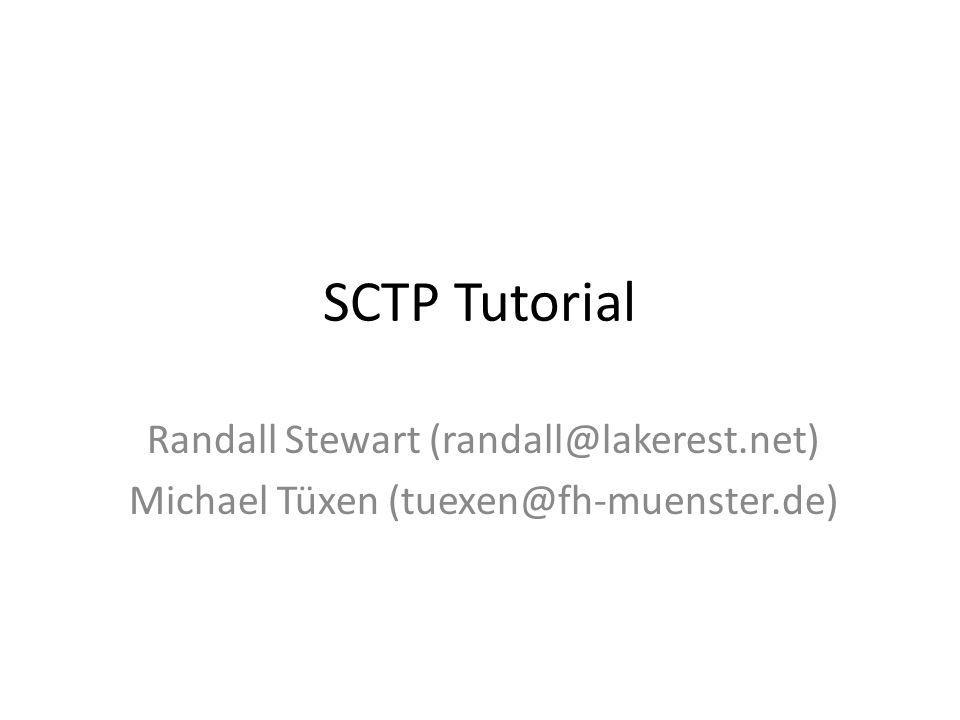 SCTP Tutorial Randall Stewart (randall@lakerest.net) Michael Tüxen (tuexen@fh-muenster.de)