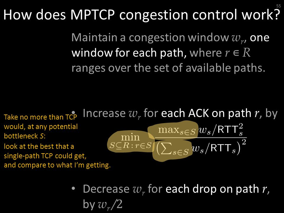 How does MPTCP congestion control work.