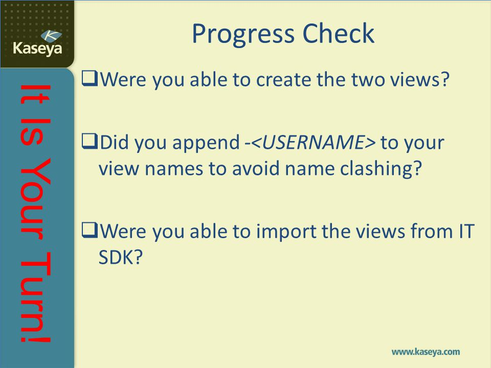 It Is Your Turn! Progress Check  Were you able to create the two views?  Did you append - to your view names to avoid name clashing?  Were you able
