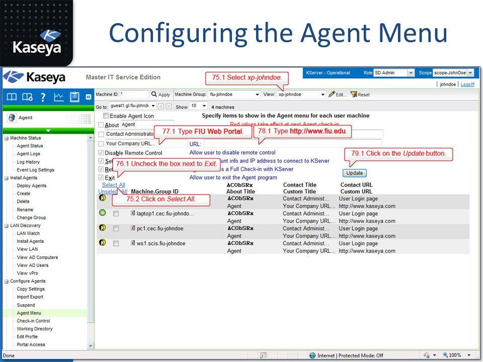 Configuring the Agent Menu