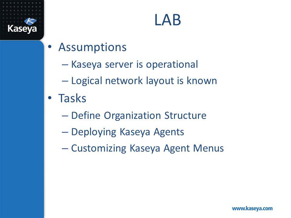 LAB Assumptions – Kaseya server is operational – Logical network layout is known Tasks – Define Organization Structure – Deploying Kaseya Agents – Cus