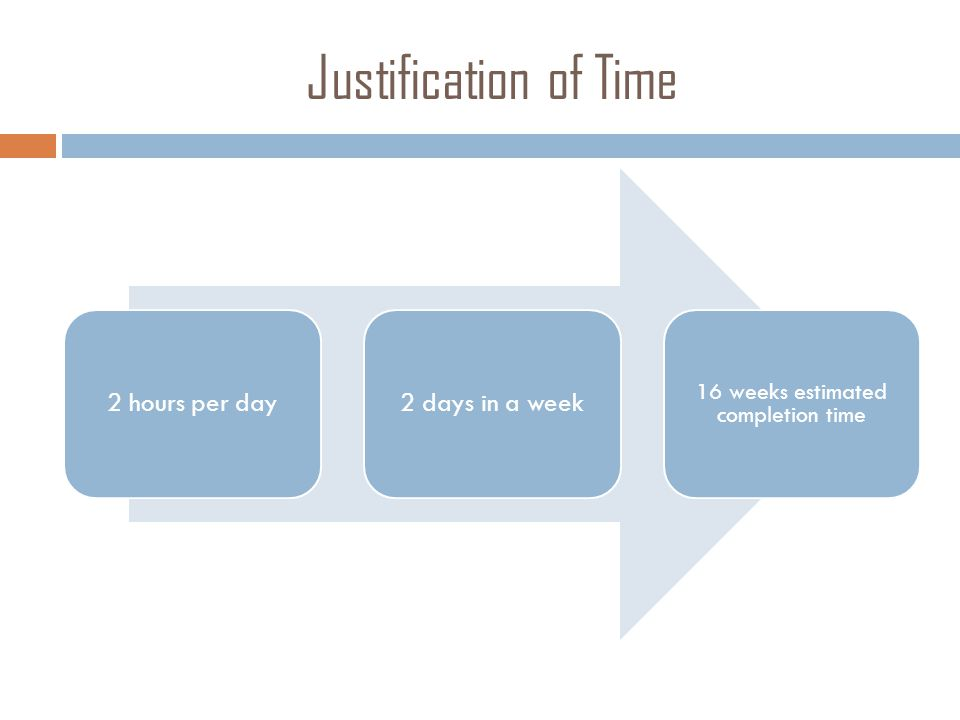 Justification of Time 2 hours per day2 days in a week 16 weeks estimated completion time