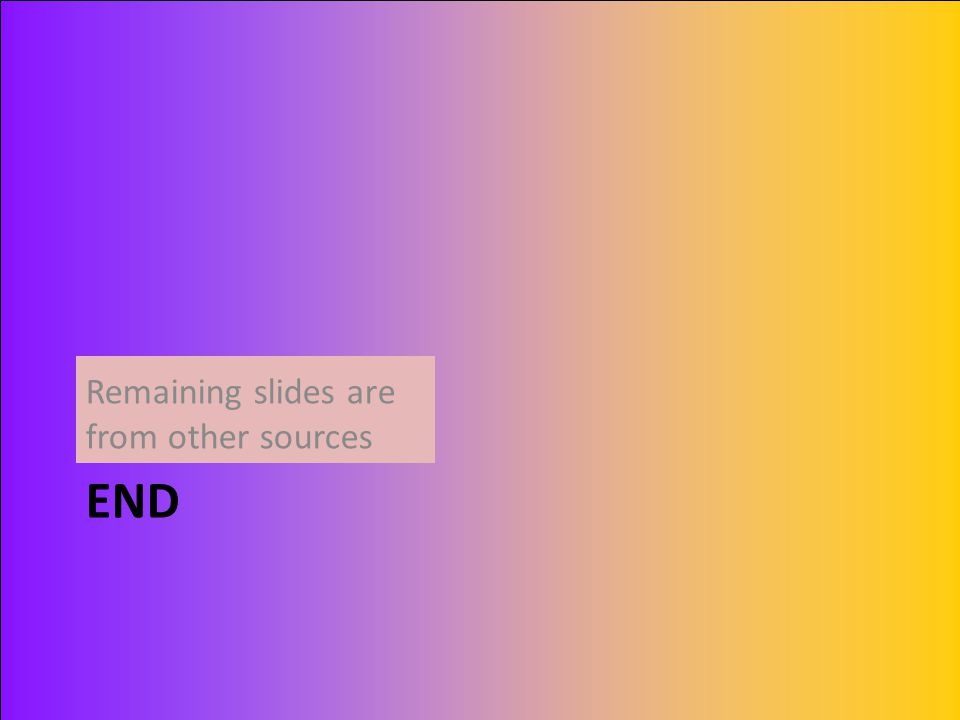 END Remaining slides are from other sources