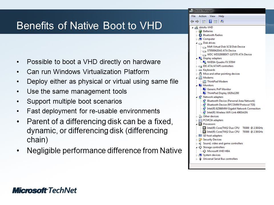 Click to edit Master title style TechNet goes virtual Resources How to Perform Common Tasks http://technet.microsoft.com/en-us/library/dd979534(WS.10).aspx What s New for IT Pros in Windows 7 http://technet.microsoft.com/en-us/library/dd349334(WS.10).aspx What s New in Virtual Hard Disks http://technet.microsoft.com/en-us/library/dd440864(WS.10).aspx What s New in Deployment Tools http://technet.microsoft.com/en-us/library/dd744386(WS.10).aspx Windows(R) Image to Virtual Hard Disk (WIM2VHD) Converter http://code.msdn.microsoft.com/wim2vhd