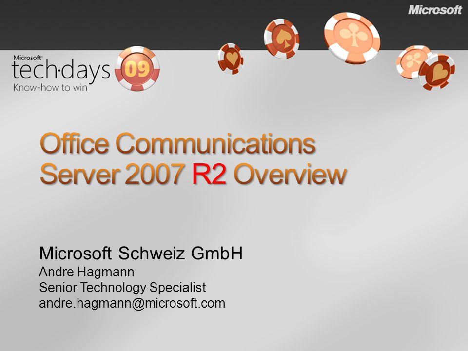 Microsoft Schweiz GmbH Andre Hagmann Senior Technology Specialist andre.hagmann@microsoft.com