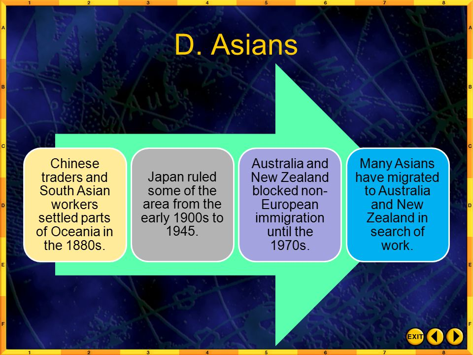 D.Asians Chinese traders and South Asian workers settled parts of Oceania in the 1880s.