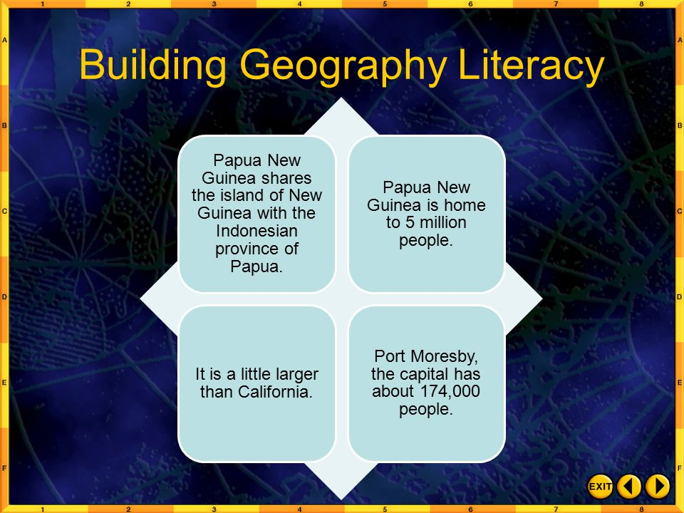 Building Geography Literacy Papua New Guinea shares the island of New Guinea with the Indonesian province of Papua.