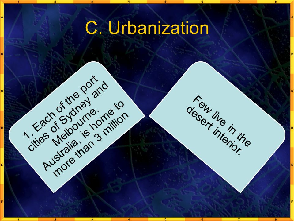 C. Urbanization 1. Each of the port cities of Sydney and Melbourne, Australia, is home to more than 3 million Few live in the desert interior.