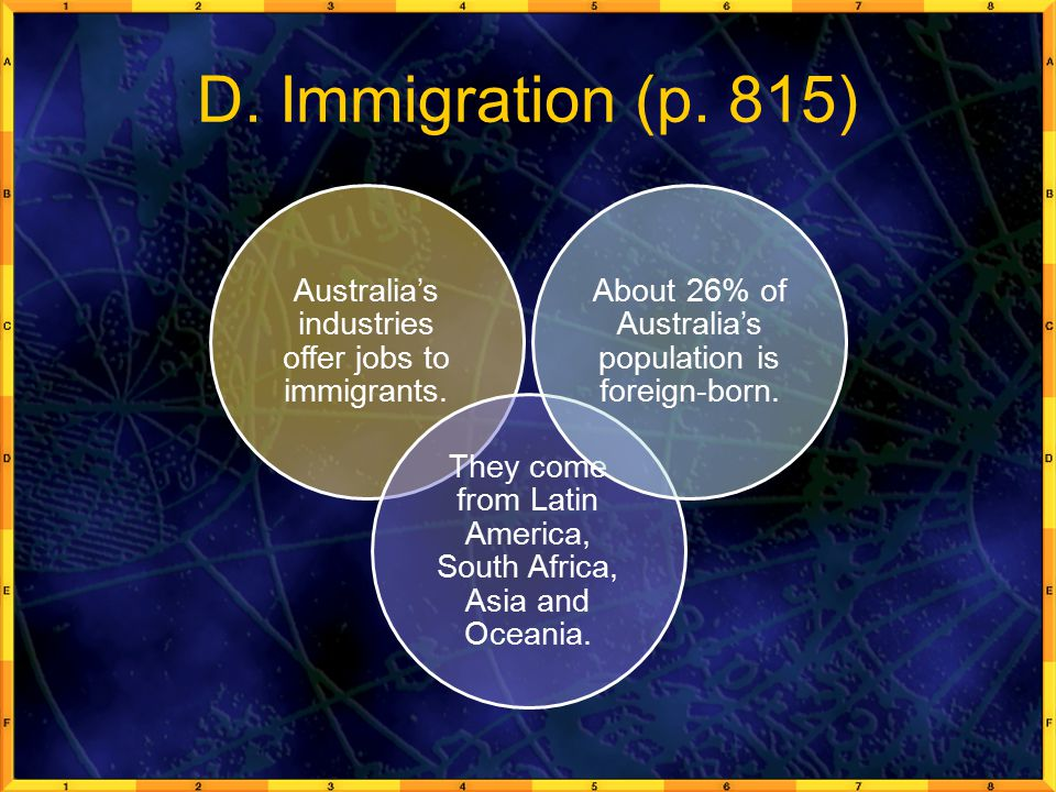 D.Immigration (p. 815) Australia's industries offer jobs to immigrants.