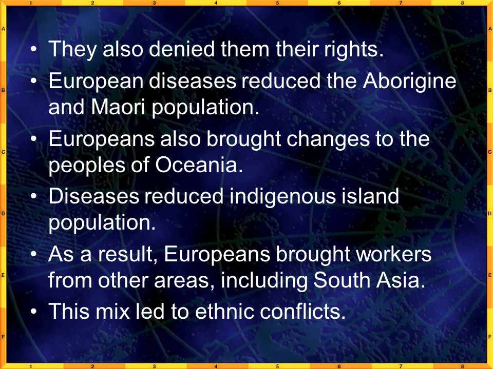 They also denied them their rights.European diseases reduced the Aborigine and Maori population.