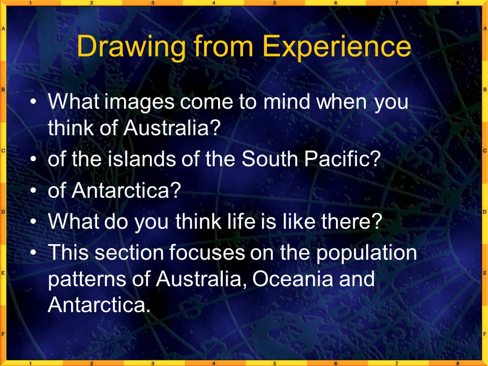Drawing from Experience What images come to mind when you think of Australia.