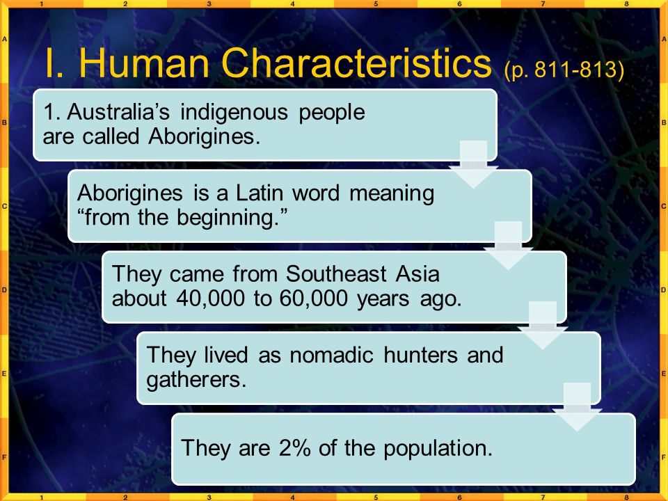 """I. Human Characteristics (p. 811-813) 1. Australia's indigenous people are called Aborigines. Aborigines is a Latin word meaning """"from the beginning."""""""