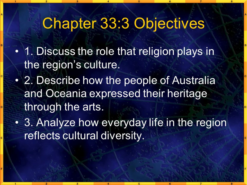Chapter 33:3 Objectives 1.Discuss the role that religion plays in the region's culture.