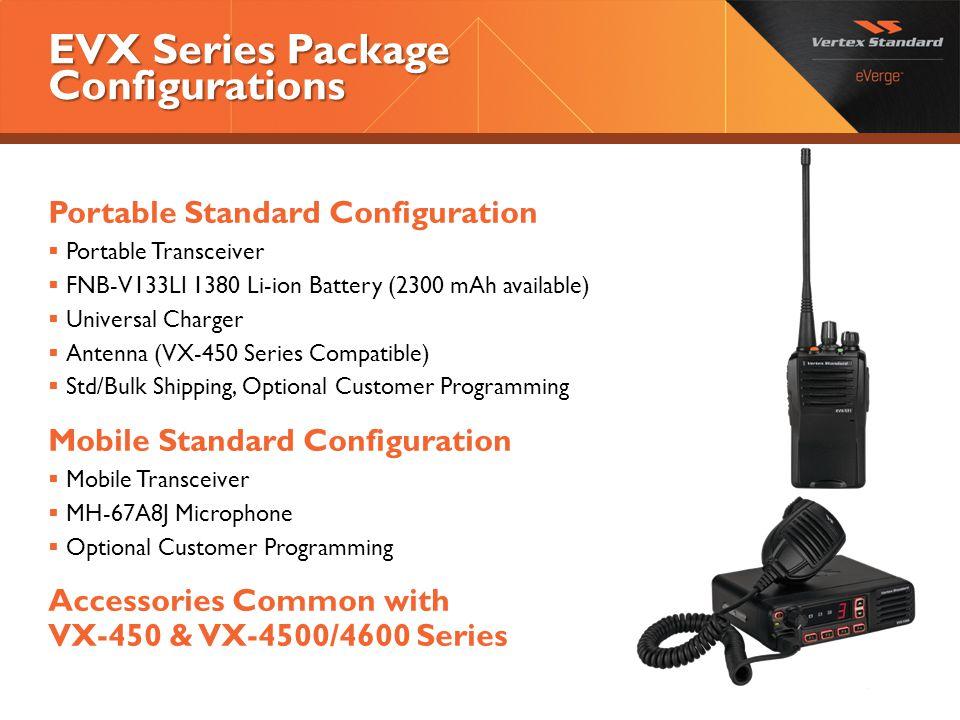 EVX Series Package Configurations Portable Standard Configuration  Portable Transceiver  FNB-V133LI 1380 Li-ion Battery (2300 mAh available)  Unive