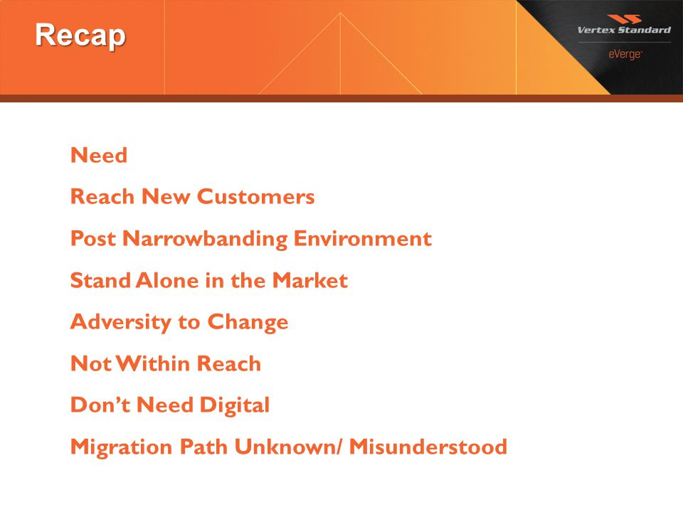 Recap Need Reach New Customers Post Narrowbanding Environment Stand Alone in the Market Adversity to Change Not Within Reach Don't Need Digital Migrat
