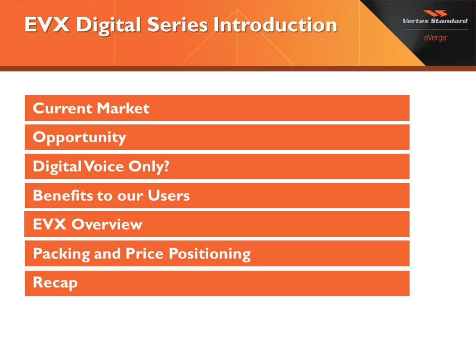 EVX Digital Series Introduction Current Market Opportunity Digital Voice Only? Benefits to our Users EVX Overview Packing and Price Positioning Recap