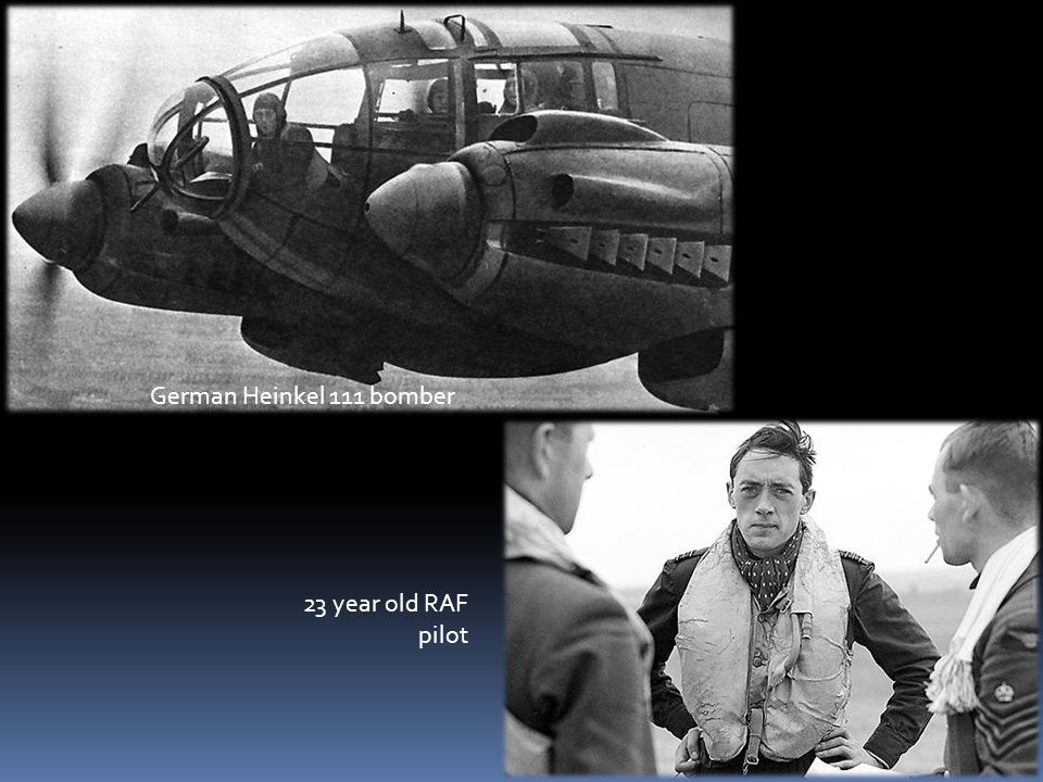 German Heinkel 111 bomber 23 year old RAF pilot