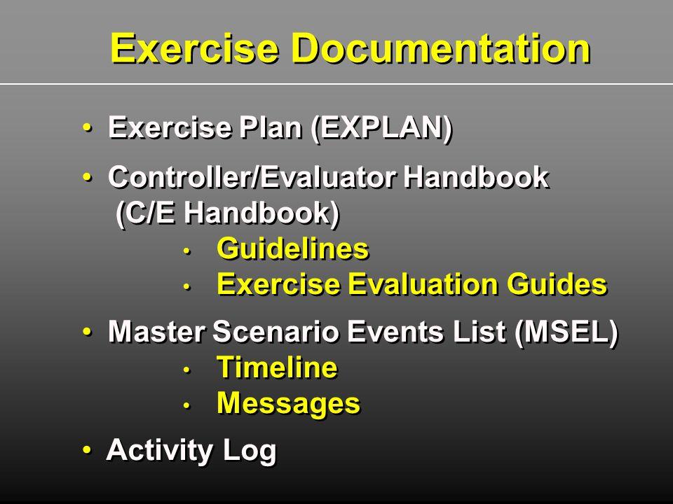 Exercise Plan (EXPLAN) Controller/Evaluator Handbook (C/E Handbook) Guidelines Exercise Evaluation Guides Master Scenario Events List (MSEL) Timeline