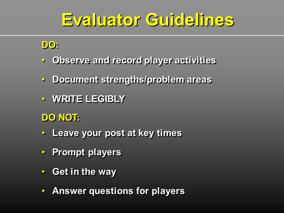DO NOT: Leave your post at key times Prompt players Get in the way Answer questions for players DO NOT: Leave your post at key times Prompt players Ge