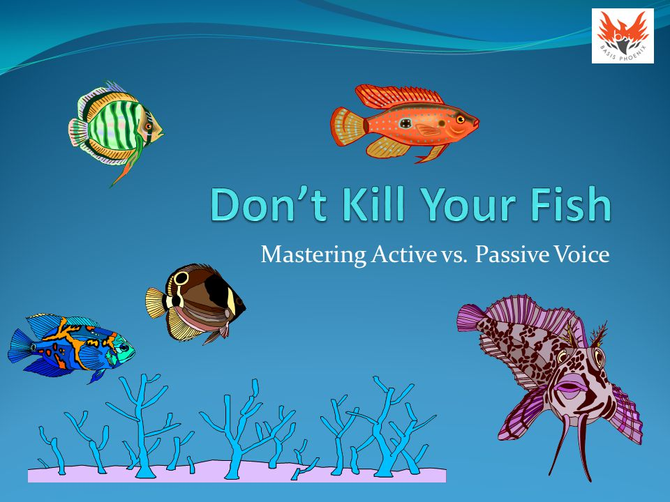 Day 3: Spotting passive voice Look for the word by , as the actors often wind up as objects of the preposition: The swimmers were bitten by a shark.