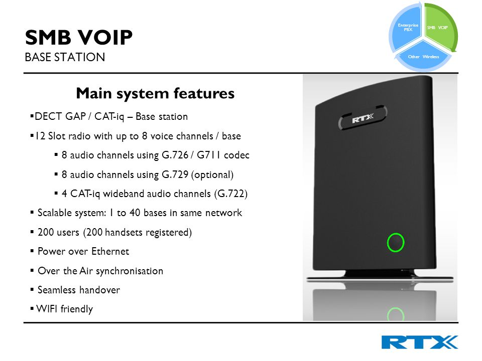 SMB VOIP BASE STATION Main system features  DECT GAP / CAT-iq – Base station  12 Slot radio with up to 8 voice channels / base  8 audio channels using G.726 / G711 codec  8 audio channels using G.729 (optional)  4 CAT-iq wideband audio channels (G.722)  Scalable system: 1 to 40 bases in same network  200 users (200 handsets registered)  Power over Ethernet  Over the Air synchronisation  Seamless handover  WIFI friendly SMB VOIP Other Wireless Enterprise PBX