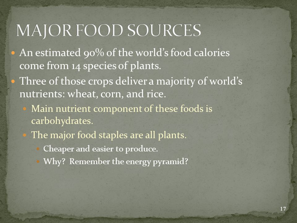 An estimated 90% of the world's food calories come from 14 species of plants.
