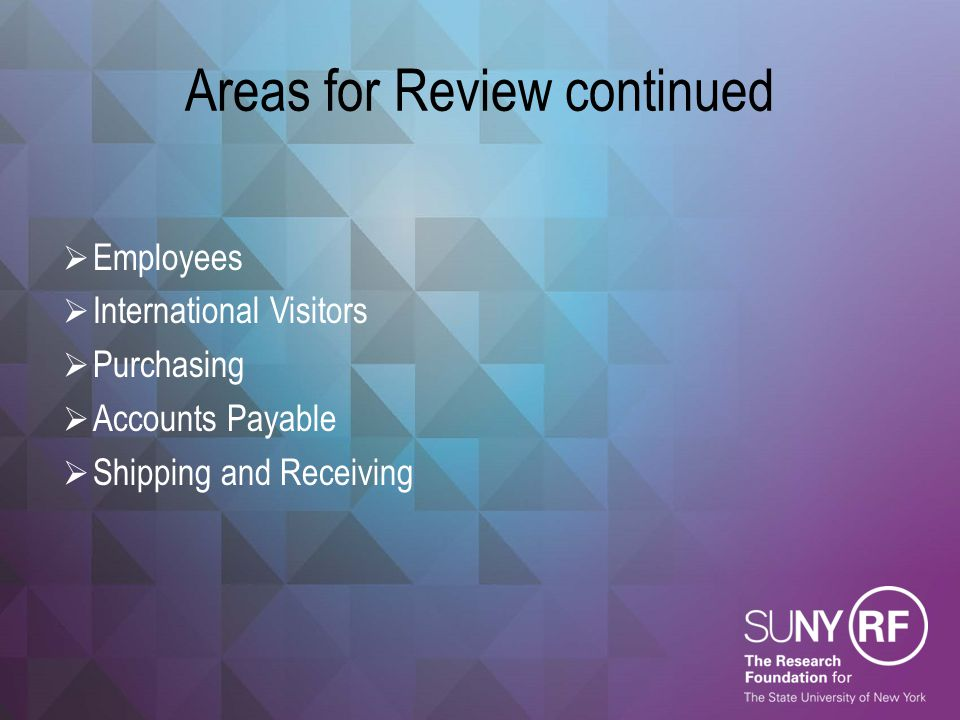 Areas for Review continued  Employees  International Visitors  Purchasing  Accounts Payable  Shipping and Receiving