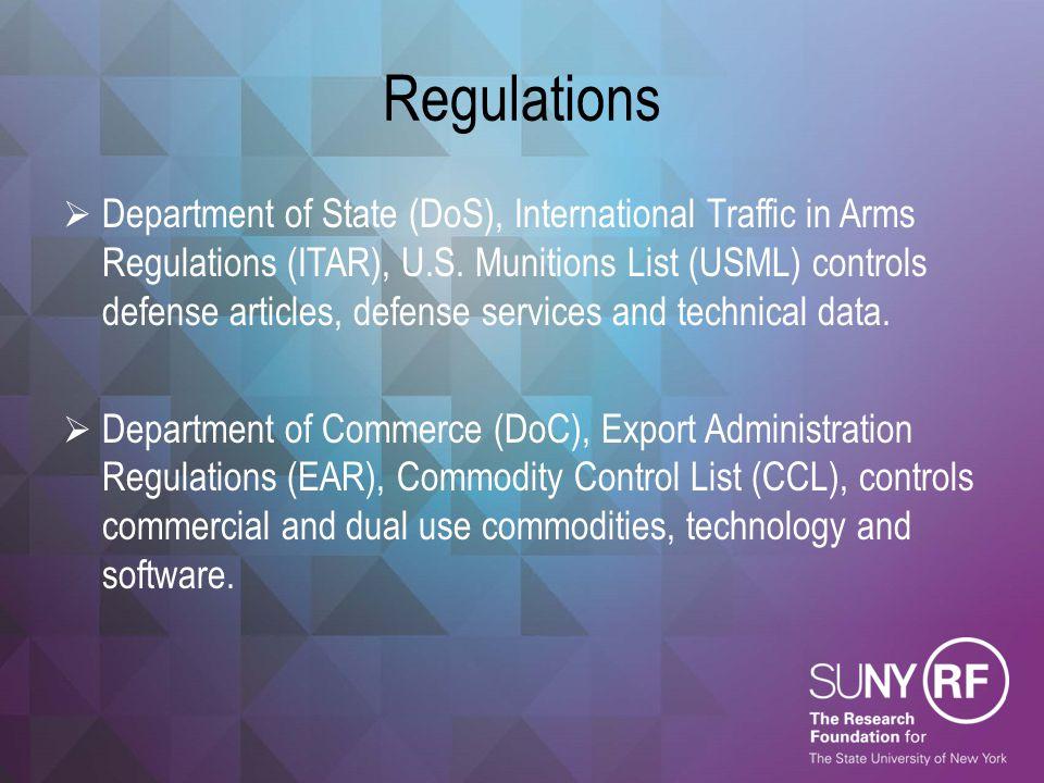 Regulations  Department of State (DoS), International Traffic in Arms Regulations (ITAR), U.S. Munitions List (USML) controls defense articles, defen