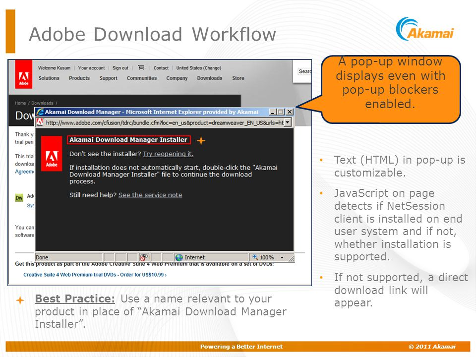 Powering a Better Internet © 2011 Akamai A pop-up window displays even with pop-up blockers enabled. Adobe Download Workflow Text (HTML) in pop-up is