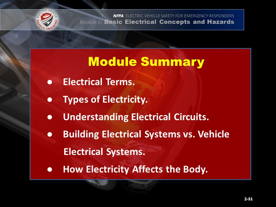 NFPA ELECTRIC VEHICLE SAFETY FOR EMERGENCY RESPONDERS Module II : Basic Electrical Concepts and Hazards ● Electrical Terms.