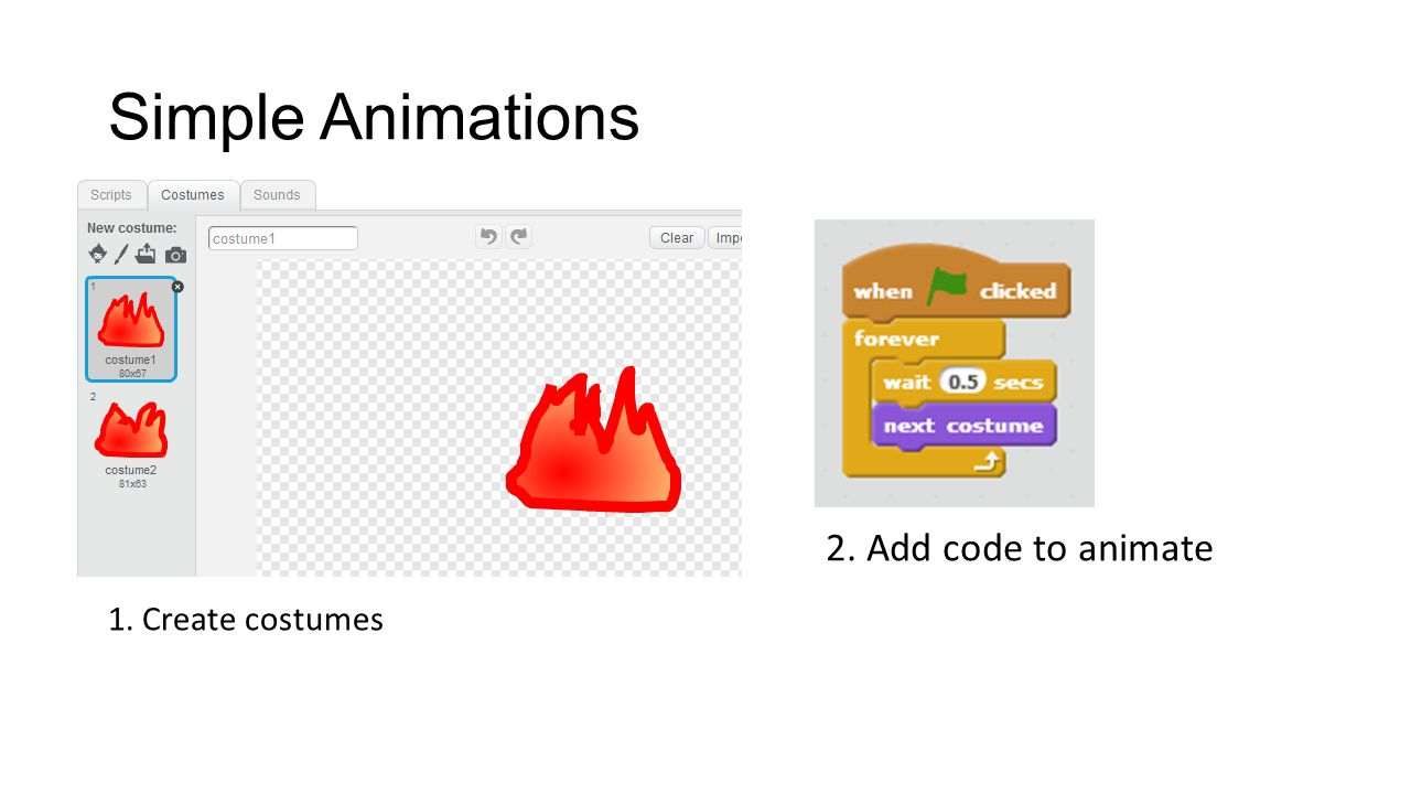 Simple Animations 1. Create costumes 2. Add code to animate